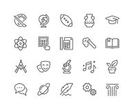 Linje skolämnesymboler royaltyfri illustrationer