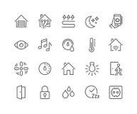 Linje Smart hussymboler stock illustrationer
