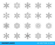 linje snöflingor för 20 vektor Arkivfoto