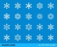linje snöflingor för 20 vektor Fotografering för Bildbyråer