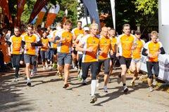 linje starta för maratonlöpare Arkivfoton