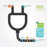 Linje stil för diagram för design för begrepp för energi för Infographics vektoreco Royaltyfri Foto