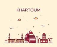 Linje stil för storstad för Khartoum horisontSudan vektor vektor illustrationer