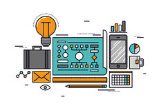 Linje stilillustration för affärsplanläggning Arkivfoton