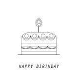 Linje stillogotypmall med kakan med stearinljus Royaltyfria Bilder