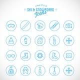 Linje stilvektor Ski Resort Vacation Icon Set vektor illustrationer