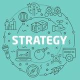 Linje strategi för lägenhetcirkelillustration Arkivbilder