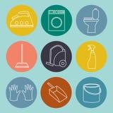 Linje symbol av lokalvårdservice för rengöringsdukbaner, webbplatser Royaltyfri Fotografi