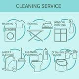 Linje symbol av lokalvårdservice, logo för rengöringsdukbaner, webbplatser Fotografering för Bildbyråer