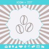 Linje symbol för kaffebönor Grafiska beståndsdelar för din design royaltyfri bild