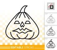 Linje symbol för lykta för nolla för allhelgonaaftonpumpastålar enkel royaltyfri illustrationer