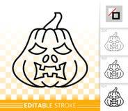 Linje symbol för lykta för nolla för allhelgonaaftonpumpastålar enkel vektor illustrationer