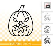 Linje symbol för lykta för nolla för allhelgonaaftonpumpastålar enkel stock illustrationer