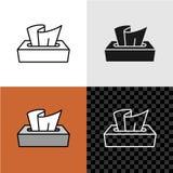 Linje symbol för pappers- ask för stilsilkespapper vektor illustrationer