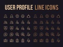 Linje symbol för vektor för användareprofil för app, svars- mobil website Arkivbild
