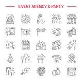 Linje symbol för vektor för organisation för händelsebyråbröllop Partiservice - sköta om, födelsedagkaka, ballonggarnering, blomm royaltyfri illustrationer