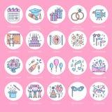 Linje symbol för vektor för organisation för händelsebyråbröllop Partiservice - sköta om, födelsedagkaka, ballonggarnering, blomm stock illustrationer