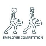 Linje symbol, linjärt begrepp, översiktstecken, symbol för anställdkonkurrensvektor royaltyfri illustrationer