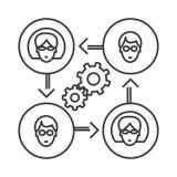 Linje symbol, tecken, illustration för affärssamarbetsvektor på bakgrund, redigerbara slaglängder royaltyfri illustrationer