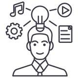 Linje symbol, tecken, illustration för vektor för plan för marknadsföring för idéutvecklingsaffärsman på bakgrund, redigerbara sl stock illustrationer