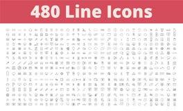 480 linje symboler royaltyfri illustrationer