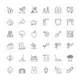 Linje symboler Arbeta i trädgården Royaltyfria Bilder
