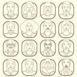 Linje symboler av olikt folk också vektor för coreldrawillustration royaltyfri illustrationer