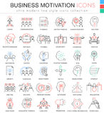Linje symboler för översikt för färg för vektoraffärsmotivation ultra modern för apps och rengöringsdukdesign royaltyfri illustrationer