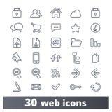 Linje symboler för beståndsdelar för rengöringsdukmanöverenhetsdesign stock illustrationer