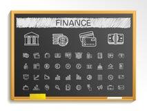 Linje symboler för finanshandteckning krita skissar teckenillustrationen på svart tavla Royaltyfri Foto