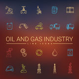 Linje symboler för fossila bränslenbransch Royaltyfri Bild