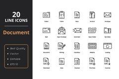 Linje symboler för 20 högkvalitativ dokument Royaltyfria Bilder