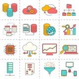 Linje symboler för lägenhet för dataanalys vektor illustrationer