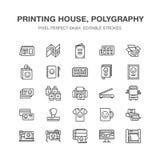 Linje symboler för lägenhet för printinghus Trycket shoppar utrustning - skrivaren, bildläsaren, offsetmaskinen, plottaren, brosc vektor illustrationer