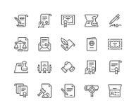 Linje symboler för lagliga dokument stock illustrationer