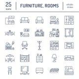 Linje symboler för möblemangvektorlägenhet Vardagsrumtvställning, sovrum, inrikesdepartementet, kökhörnbänk, soffa, barnkammare stock illustrationer