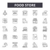 Linje symboler för matlager för rengöringsduk och mobil design Redigerbart slaglängdtecken Illustrationer för begrepp för översik royaltyfri illustrationer