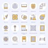 Linje symboler för ventilationsutrustninglägenhet Lufta att betinga som kyler anordningar, avgasrörfanen Hushåll och industriellt Arkivfoto