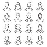 Linje symboler folk Royaltyfri Bild