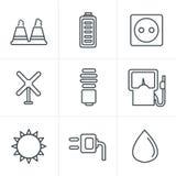 Linje symboler för energi för eco för svart för symbolsstilvektor Arkivbild