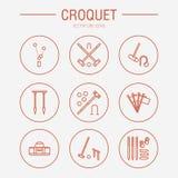 Linje symboler för vektor för krocketsportlek Bollen klubbor, förenar, pinnor, hörnflaggor Trädgård uppsättning för gräsmattaakti Arkivfoton