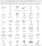 Linje symboler för översikt för vektorbyggnadskonstruktion ultra modern för rengöringsduk och apps Arkivfoton
