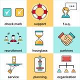 Linje symboler med plana designbeståndsdelar av kundtjänst, klientservice, framgångaffärsledning Royaltyfri Fotografi