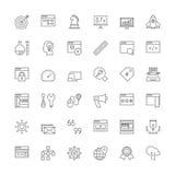 Linje symboler SEO och rengöringsdukutveckling Arkivfoto