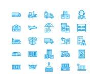 Linje symboler som åker lastbil, uttrycklig leverans, logistik, sändnings, egen rensning, packe för lasttrans.lägenhet vektor illustrationer