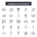 Linje symboler, tecken, vektoruppsättning, översiktsillustrationbegrepp för kommersiellt fotografi royaltyfri illustrationer