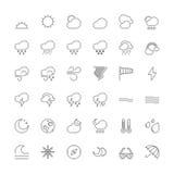 Linje symboler Vädret Royaltyfri Fotografi
