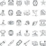 Linje symbolssamling för havsfritidsvart Royaltyfri Foto