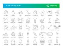 Linje symbolsuppsättning Aktiv liv- och sportpacke royaltyfri illustrationer