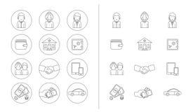 Linje symbolsuppsättning Att ta för kvinna och för manar noterar Arkivbilder